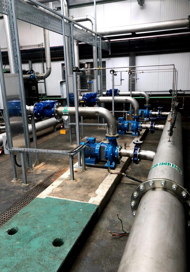 Stainless steel process pipework with pumps and non return valves