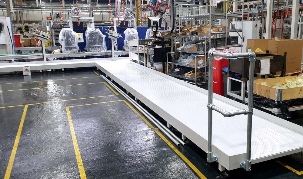 White assembly line platforms